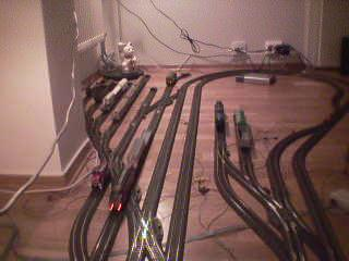 Lots of track in the corner of the room.