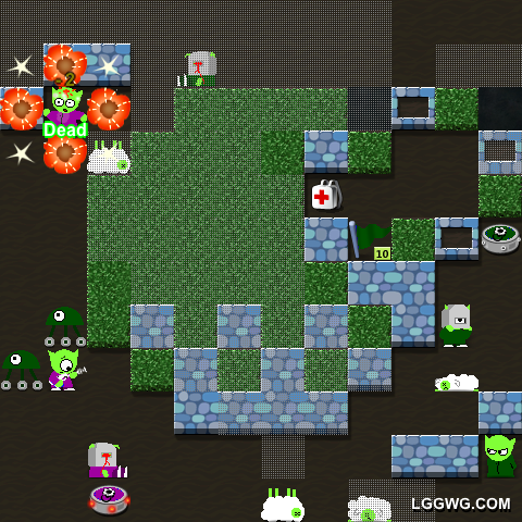 A game where little green guys with pointy ears shoot at each other, called LGGWG.COM.